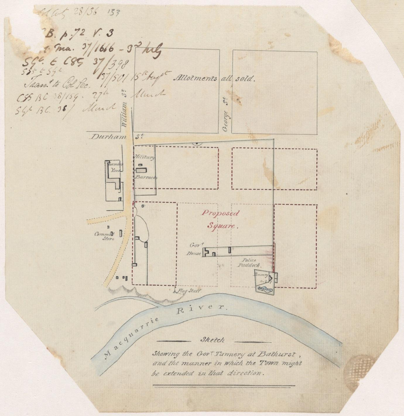 1837 - Settlement Map of Bathurst