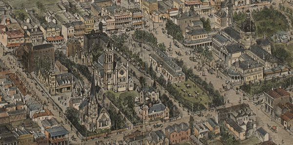 1891 - Hand coloured engraving of aerial view of Bathurst – A.C. Cooke & George Collingridge (Collection of Dr Ken Neale)