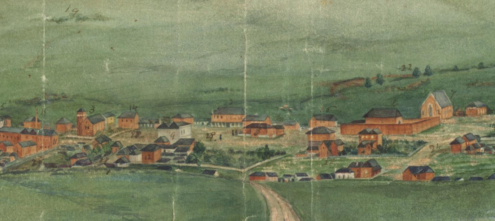 C1860s - Watercolour View of Bathurst (Artist unknown)