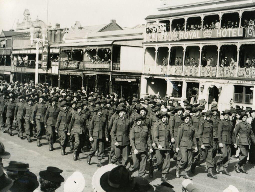 World War II March Past - William Street - Royal Hotel in background