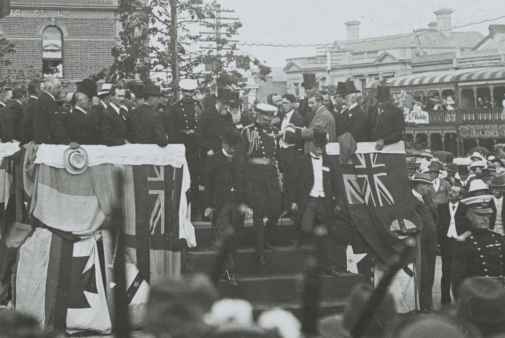 Lord Kitchener descending the dais after opening the South African Boer War Memorial - 1910