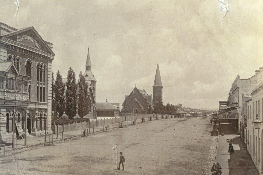 1891 - View of Howick Street including the School of Arts Hall, Superior School and St Stephen's