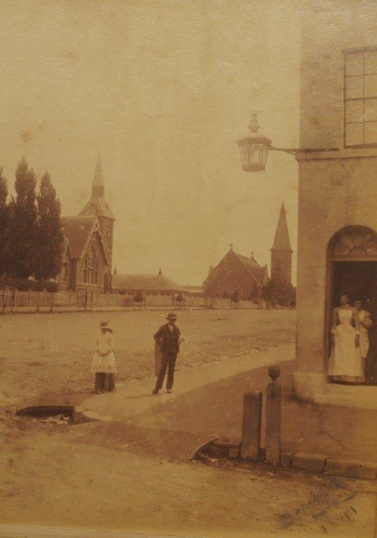 1891 - Turner's Hotel cnr of Howick Street looking towards the Superior School and St Stephen's