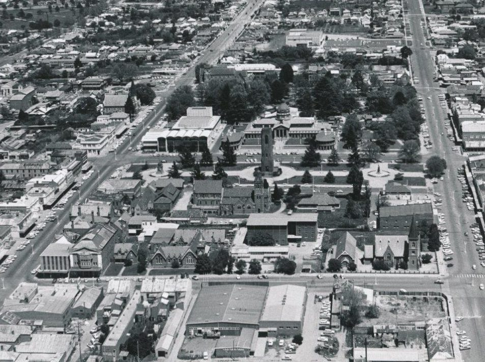 Aerial view of central Bathurst, including the Town Square, taken in the early 1960s