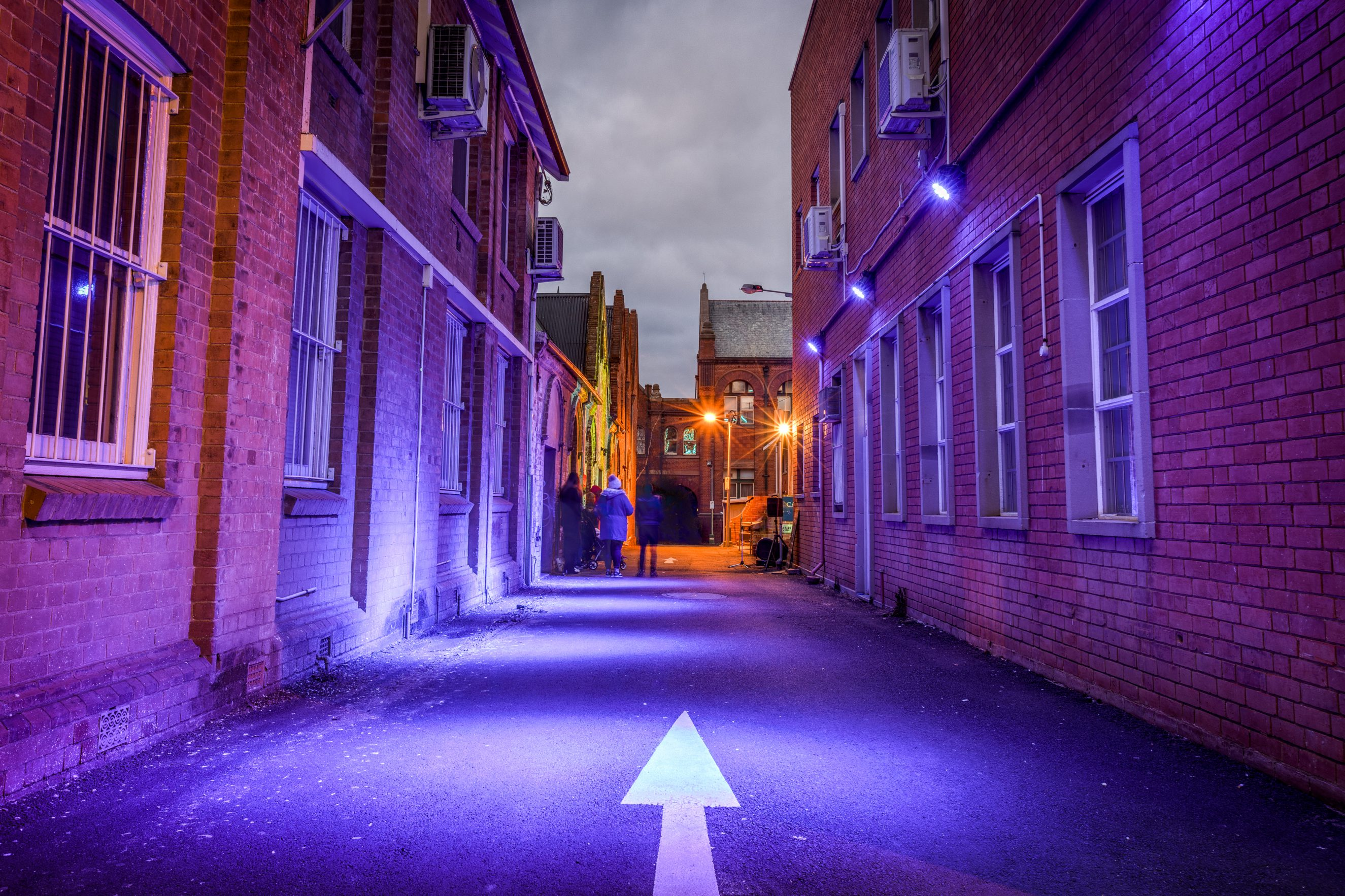 2016 – Illuminated buildings Ribbon Gang Lane looking towards TAFE building