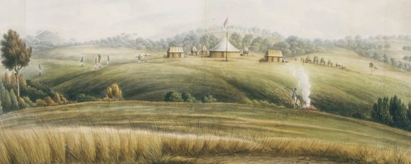 1815 - The Flagstaff on the Macquarie (Wambool) River Bank – John W. Lewin who travelled with Governor Macquarie to Bathurst